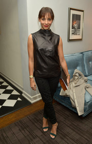 Rashida Jones donned a simple yet stylish sleeveless black leather top for the Banana Republic L'Wren Scott collection launch.
