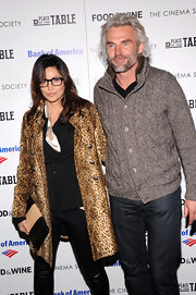 Gina Gershon showed off her fierce style with a leopard-print fur coat at the screening of 'A Place at the Table.'