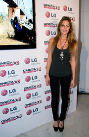 Amaia Salamanca created a street stylish look by teaming up a gray tank with a pair of skinny jeans at the LG product launch.