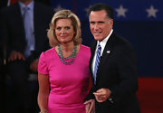 Ann Romney matched Michelle Obama by wearing pink at the second presidential debate.