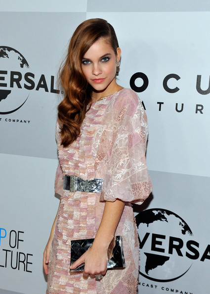Barbara Palvin Metallic Clutch