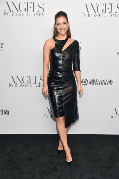 Barbara Palvin Leather Dress
