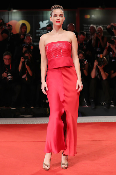 Barbara Palvin Long Skirt [fashion model,fashion,red carpet,clothing,fashion show,dress,carpet,shoulder,red,runway,seberg red carpet arrivals,seberg,barbara palvin,sala grande,red carpet,venice,italy,76th venice film festival,screening]