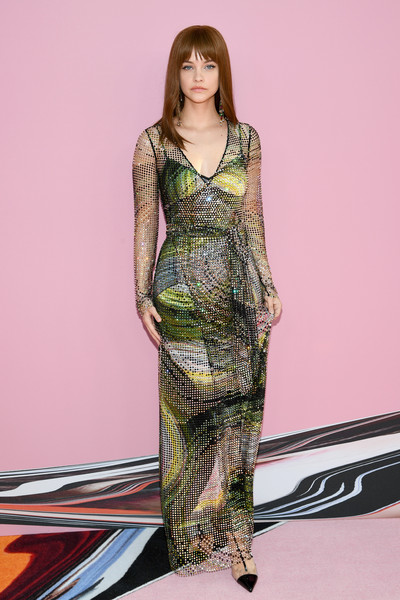 Barbara Palvin Wrap Dress [clothing,dress,fashion model,fashion,day dress,fashion design,long hair,gown,leg,pattern,arrivals,barbara palvin,cfda fashion awards,brooklyn museum of art,new york city]