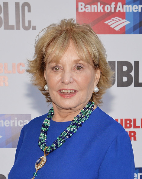 Barbara Walters Layered Razor Cut [one thrilling combination,2014 gala presents,hair,hairstyle,blond,smile,premiere,magazine,barbara walters,arrivals,journalist,public theater,united states,new york,gala]