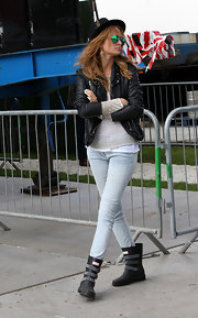 Millie Mackintosh dressed rocker-chic with a leather jacket during the Barclaycard Wireless Festival.