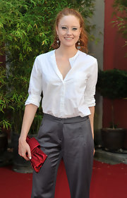 Barbara Meier looked elegant in a white button-down shirt tucked into her slacks at the Munich Film Festival.