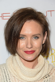 Nicky Whelan looked trendy with her choppy bob at the 'Beauty Book for Brain Cancer' Edition 2 launch party.