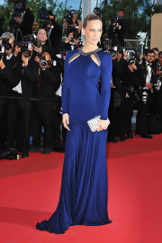 Bar was simply sizzling on the Cannes red carpet in a navy floor length gown with dramatic cutouts.
