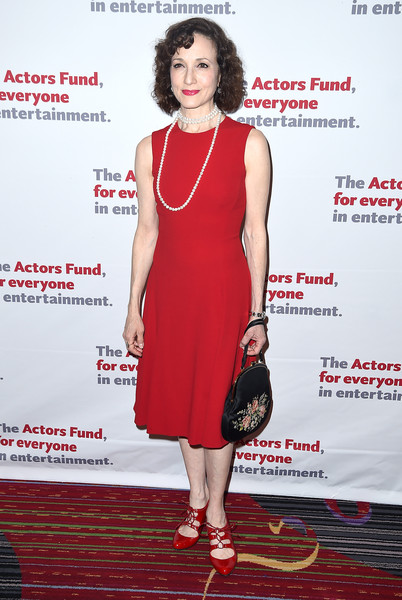 Bebe Neuwirth Midi Dress [fashion model,clothing,dress,cocktail dress,red,footwear,premiere,fashion,carpet,red carpet,marriott marquis times square,new york city,actors fund 2016 gala,the actors fund 2016 gala,bebe neuwirth]