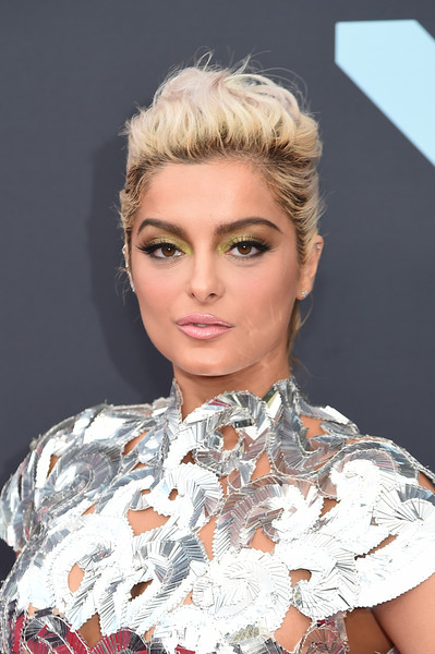 Bebe Rexha Messy Updo [hair,face,hairstyle,eyebrow,blond,chin,beauty,lip,fashion,hair coloring,arrivals,bebe rexha,mtv video music awards,hair,hairstyle,face,eyebrow,newark,prudential center,new jersey,bebe rexha,2017 mtv video music awards,sad,celebrity,mtv,warner music group]