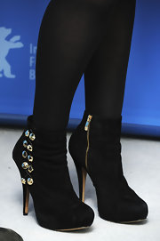 Julie Delpy's ankle boots had a touch of glamour with gold studs embellishing the sides.