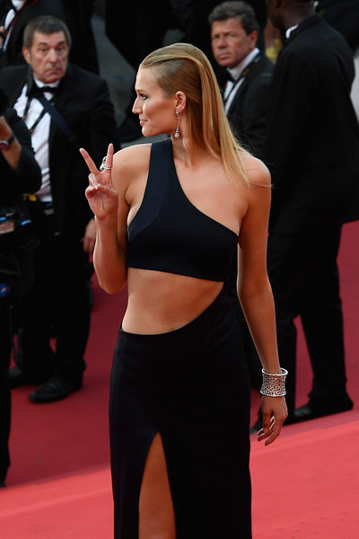 More Pics of Toni Garrn Cutout Dress (1 of 26) - Dresses & Skirts Lookbook - StyleBistro [the beguiled red carpet arrivals,red carpet,clothing,carpet,shoulder,flooring,premiere,dress,joint,waist,arm,toni garrn,cannes,france,martinez pier,generous people 5th anniversary party,cannes film festival]