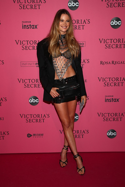 Behati Prinsloo Strappy Sandals [fashion model,pink,flooring,beauty,fashion show,little black dress,fashion,shoulder,leg,catwalk,behati prinsloo,new york,party arrivals,victorias secret fashion show,victorias secret fashion show after party]