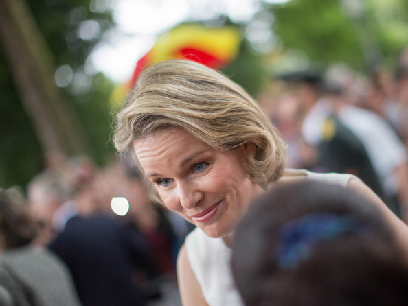 More Pics of Queen Mathilde of Belgium Bob (1 of 19) - Queen Mathilde of Belgium Lookbook - StyleBistro [hair,hairstyle,blond,lady,beauty,human,smile,headgear,photography,fashion accessory,mathilde of belgium,place des palais,brussel,belgium,belgium royals national day]
