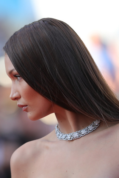 Bella Hadid Diamond Collar Necklace [ash is the purest white,hair,hairstyle,shoulder,chin,beauty,hair coloring,bob cut,long hair,brown hair,black hair,bella hadid,cannes,france,red carpet arrivals,cannes film festival,screening]