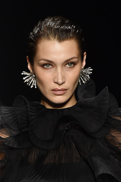 Bella Hadid Sterling Dangle Earrings [hair,face,eyebrow,hairstyle,beauty,fashion model,fashion,lip,cheek,eye,bella hadid,part,alberta ferretti - runway,runway,milan,italy,alberta ferretti,milan fashion week,fashion show,milan fashion week fall,bella hadid,milan fashion week,stock photography,fashion,photography,supermodel,model,portrait,fashion show,royalty-free]