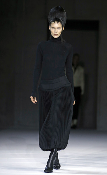 Bella Hadid Full Skirt [haider ackermann : runway - paris fashion week womenswear fall,fashion show,fashion model,runway,fashion,clothing,shoulder,fashion design,neck,human,dress,haider ackermann,bella hadid,model,part,runway,us,paris,france,paris fashion week womenswear fall,runway,fashion show,fashion,supermodel,haute couture,model,human]