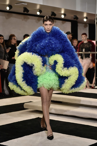 Bella Hadid Kitten Heels [shows,fashion,fashion show,clothing,fur,fashion model,cobalt blue,electric blue,haute couture,fur clothing,fashion design,tomo koizumi,bella hadid,tomo koizumi - runway,runway,marc jacobs madison,new york city,new york fashion week,fashion show]