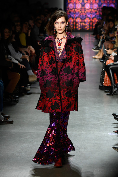 Bella Hadid Printed Coat [shows,the shows,fashion,fashion model,runway,fashion show,clothing,event,haute couture,fashion design,public event,outerwear,bella hadid,anna sui,gallery i,anna sui - runway,runway,new york city,spring studios,new york fashion week]