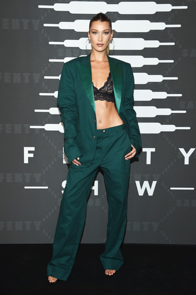 Bella Hadid Pantsuit [savage x fenty show,clothing,green,fashion,suit,turquoise,fashion design,pantsuit,outerwear,fashion model,formal wear,video - arrivals,bella hadid,brooklyn,new york,barclays center,amazon prime]