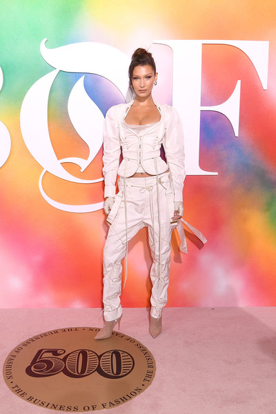 Bella Hadid Pantsuit [fashion,fashion show,fashion model,fashion design,runway,peach,footwear,event,haute couture,model,bella hadid,bof500,hotel brooklyn bridge,brooklyn city,business of fashion celebrates,red carpet arrivals,gala dinner,new york fashion week]