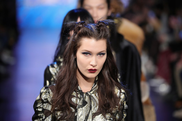 Bella Hadid Half Up Half Down [shows,the shows,hair,fashion,hairstyle,beauty,fashion model,fashion show,long hair,runway,event,model,bella hadid,anna sui,collection,skylight clarkson sq,anna sui - runway,runway,new york city,new york fashion week]
