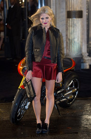 Pixie Lott toughened up in a micro-quilted leather jacket for the Belstaff House opening.