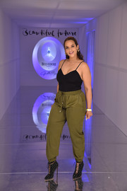 A pair of studded lace-up booties sealed off Dascha Polanco's ensemble.