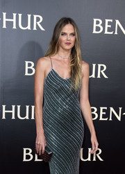 Shannan Click matched a studded silver clutch with a beaded slip dress for the LA premiere of 'Ben-Hur.'