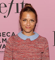 Charlotte Ronson wore her hair drawn up into a casual top knot for the Benefit 'Glamouriety' premiere.