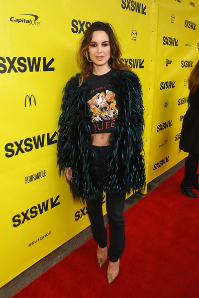 Berenice Marlohe Pumps [song to song premiere,red carpet,clothing,yellow,carpet,premiere,flooring,fashion,outerwear,footwear,long hair,berenice marlohe,austin,texas,paramount theatre,sxsw conference,festivals]