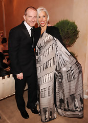 Linda Fargo was truly in theme for the Bergdorf Goodman anniversary celebration wearing the store's front!