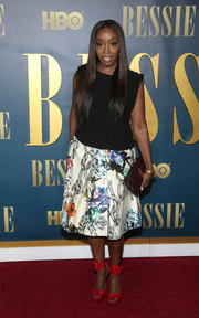 Estelle kept it simple up top in a sleeveless black blouse when she attended the New York screening of 'Bessie.'