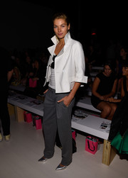 Jessica Hart looked uber cool wearing a white cropped jacket with the collar turned up during the Betsey Johnson fashion show.