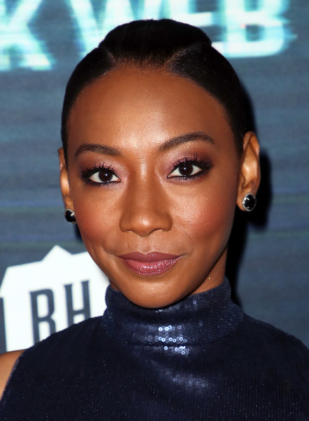 Betty Gabriel Ponytail [unfriended: dark web,hair,face,eyebrow,hairstyle,forehead,lip,black hair,head,beauty,skin,arrivals,betty gabriel,l.a. live,california,los angeles,blumhouse productions,universal pictures,premiere,premiere]