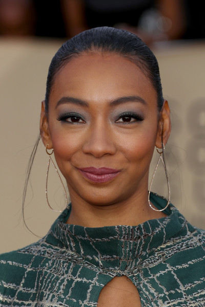 Betty Gabriel Ponytail [hair,face,eyebrow,hairstyle,lip,forehead,beauty,skin,chin,fashion,arrivals,betty gabriel,screen actors guild awards,los angeles,california,the shrine auditorium]
