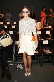 Olivia Palermo cut an ultra-feminine silhouette in a flared white skirt during the Bibhu Mohapatra fashion show.