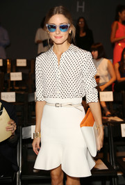 Olivia Palermo looked darling in a black-and-white polka-dot button-down and a flirty mini skirt during the Bibhu Mohapatra fashion show.