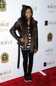 Gabby Douglas traded in her leotard for this stylish leather jacket with fur trim