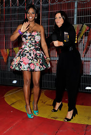 Davina McCall stepped out in a pair of black chunky-heeled peep-toes on an episode of 'Big Brother.'