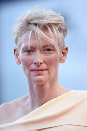 Tilda Swinton wore her short hair mussed up during the Venice Film Fest premiere of 'A Bigger Splash.'