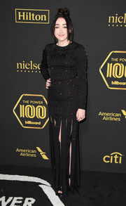 Noah Cyrus chose a beaded black Mathieu Mirano gown with a carwash skirt for the Billboard Power 100 event.