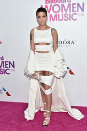Halsey's white triple-strap sandals coordinated perfectly with her dress.