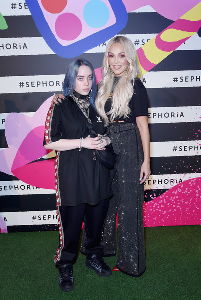 Billie Eilish Basketball Sneakers [carpet,event,red carpet,premiere,flooring,performance,billie eilish,kandee johnson,sephoria,california,los angeles,the majestic downtown,house of beauty preview party,l]