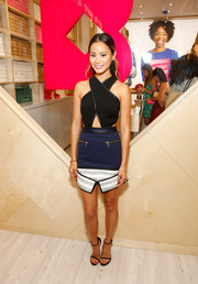 Jamie Chung was modern and sexy at the Birchbox flagship store opening in a Three Floor cutout dress with a crisscross bodice.