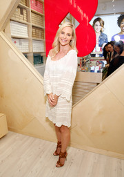 Carmindy Kathryn Bowyer was boho-cute in a scalloped white off-the-shoulder shift dress during the Birchbox flagship store opening.