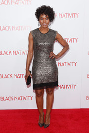 Angela Bassett looked downright fab in a metallic silver sheath by Rachel Roy during the premiere of 'Black Nativity.'