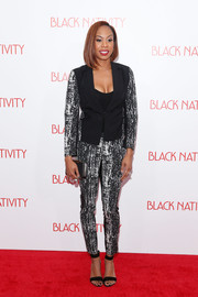 Sanya Richards-Ross donned a monochrome pantsuit for the premiere of 'Black Nativity.'