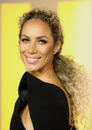 Leona Lewis gathered her curls into a low ponytail for the European premiere of 'Black Panther.'